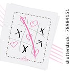 Tic Tac Toe Game And Pink Hearts