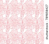 pink background with flowers.... | Shutterstock .eps vector #789858427