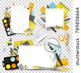 collection of school scrapbook... | Shutterstock .eps vector #789858664