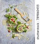 healthy breakfast with fruit... | Shutterstock . vector #789860455