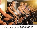 young fit women cycling on...   Shutterstock . vector #789864895