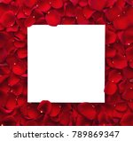 Stock photo frame of red rose petals and blank paper card valentines day concept 789869347