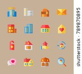 icon set about travel with chat ... | Shutterstock .eps vector #789870895
