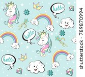 beautiful unicorns pop art on... | Shutterstock .eps vector #789870994
