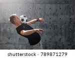 football freestyle. young man... | Shutterstock . vector #789871279