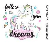beautiful unicorns on the... | Shutterstock .eps vector #789871699