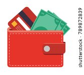 wallet icon with money bills... | Shutterstock .eps vector #789872839