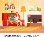 lifestyle of modern family.... | Shutterstock .eps vector #789876274