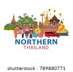thailand travel with northern... | Shutterstock .eps vector #789880771
