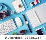top view office desk workspace... | Shutterstock . vector #789881167