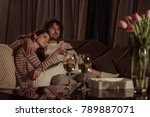 heterosexual couple watching tv ...   Shutterstock . vector #789887071