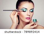 makeup artist applies eye... | Shutterstock . vector #789892414
