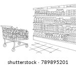 grocery store shop interior... | Shutterstock .eps vector #789895201