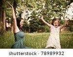 small cute girl enjoying life... | Shutterstock . vector #78989932