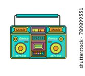 old multi colored tape recorder | Shutterstock .eps vector #789899551
