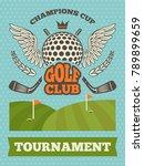 vintage poster for golf... | Shutterstock .eps vector #789899659