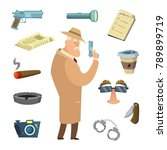 different tools for detective.... | Shutterstock .eps vector #789899719