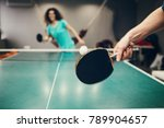 girl playing table tennis. | Shutterstock . vector #789904657