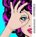 pop art woman   perfect  sign.... | Shutterstock .eps vector #789908815