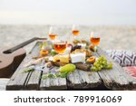 top view beach picnic table....   Shutterstock . vector #789916069