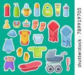 vector baby accessories... | Shutterstock .eps vector #789919705