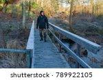 male hiker walking across...   Shutterstock . vector #789922105