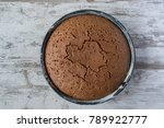 top view of round baked... | Shutterstock . vector #789922777