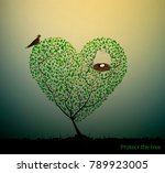 tree look like heart with nest...
