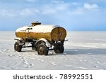 Forgotten Tanker In Winter Lake