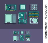 pc components pixel art vector... | Shutterstock .eps vector #789927004