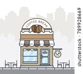 flat style coffee shop building ... | Shutterstock .eps vector #789928669