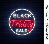 black friday sale neon sign ...   Shutterstock . vector #789930259