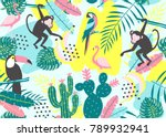tropical seamless pattern with... | Shutterstock .eps vector #789932941