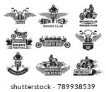 motorbike illustrations. logos... | Shutterstock .eps vector #789938539