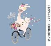 cute romantic llama  alpaca... | Shutterstock .eps vector #789943054