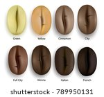 coffee beans realistic set... | Shutterstock .eps vector #789950131