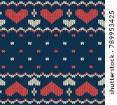knitted seamless vector pattern ... | Shutterstock .eps vector #789953425