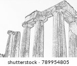 doric columns of an ancient... | Shutterstock . vector #789954805