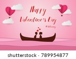 lovers sit on a boat in the... | Shutterstock .eps vector #789954877