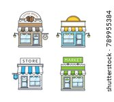 vector set of store buildings.... | Shutterstock .eps vector #789955384