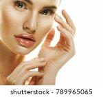 beautiful woman face portrait... | Shutterstock . vector #789965065