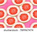 red grapefruit  pomelo  on pink ... | Shutterstock . vector #789967474