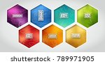 hexagon label set   colorful... | Shutterstock .eps vector #789971905