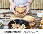 cooking burgers. the process of ... | Shutterstock . vector #789972274