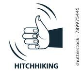 vector hand icon hitchhiking... | Shutterstock .eps vector #789975445