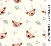 deer head seamless. cute deer... | Shutterstock .eps vector #789983785