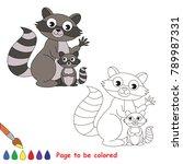 grey raccoon mom and her infant ... | Shutterstock .eps vector #789987331