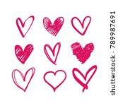 hearts vector doodle ... | Shutterstock .eps vector #789987691