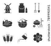 agriculture glyph icons set....   Shutterstock . vector #789990541
