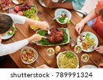 thanksgiving day  eating and... | Shutterstock . vector #789991324